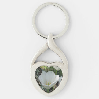 White Tulips Flower Trio Silver-Colored Heart-Shaped Metal Keychain
