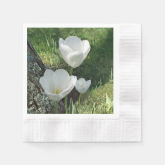 White Tulips Flower Trio Disposable Napkins