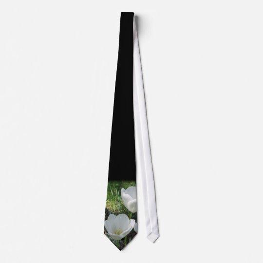 White Tulips Flower Trio Tie