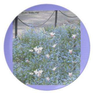 White Tulips in blue field Plate