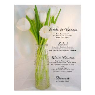 White Tulips in Bottle Wedding Menu Flyer Design
