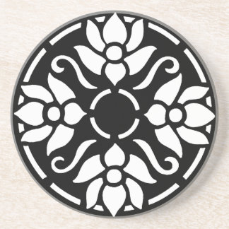 White Tulips in Circle Drink Coaster