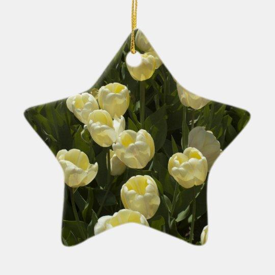 White Tulips in the Boston Gardens Ceramic Ornament