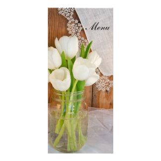 White Tulips Mason Jar Country Barn Wedding Menu