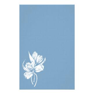 White Tulips on Dusk Blue Stationery Design