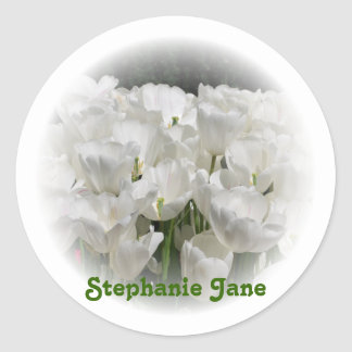 White Tulips Personalized Stickers