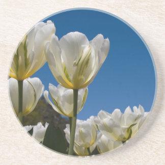 White Tulips Photo Drink Coaster