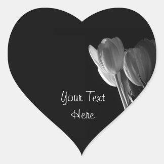 White Tulips Photo On Black Background Heart Sticker
