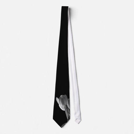 White Tulips Photo On Black Background Neck Tie