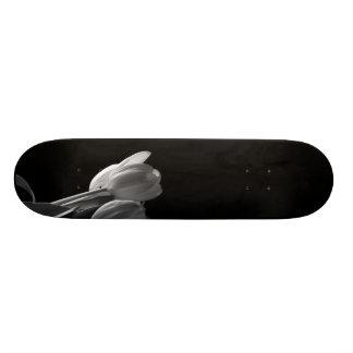 White Tulips Photo On Black Background Skate Deck