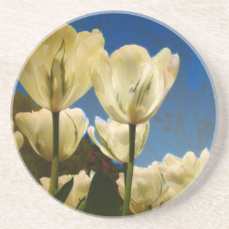 White Tulips Photo with Floral Swirl Pattern Drink Coaster