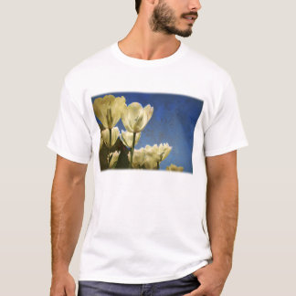 White Tulips Photo with Floral Swirl Pattern T-Shirt
