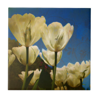 White Tulips Photo with Floral Swirl Pattern Tiles