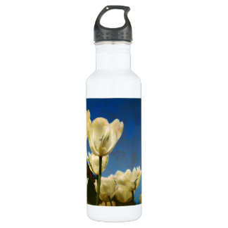 White Tulips Photo with Floral Swirl Pattern Water Bottle