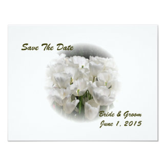 White  Tulips Save The Date Card