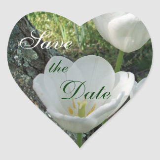 White Tulips Save the Date Heart Sticker