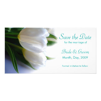 White Tulips - Save the Date Photo Card