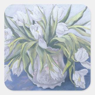 White Tulips Square Sticker