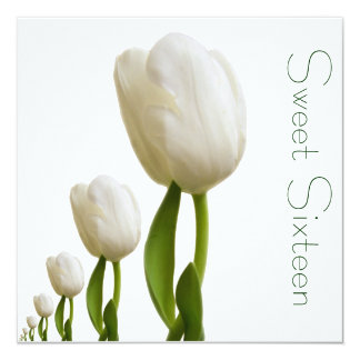 White Tulips Sweet Sixteen Invitation
