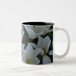 White Tulips Two-Tone Coffee Mug