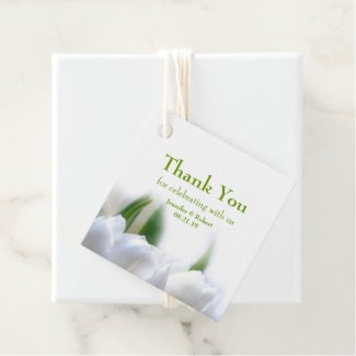 White Tulips Wedding Favor Tags