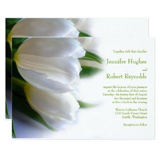 White Tulips Wedding Invitation