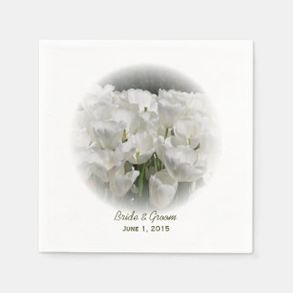 White Tulips Wedding Paper Napkins