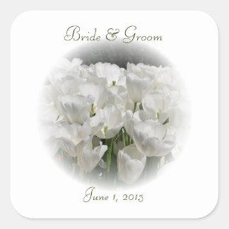 White Tulips Wedding Stickers