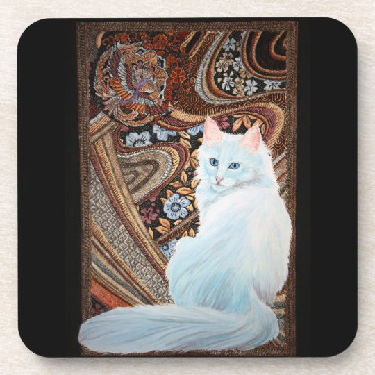 White Turkish Angora Coaster