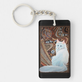 White Turkish Angora Double-Sided Rectangular Acrylic Keychain