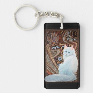 White Turkish Angora Acrylic Key Chain