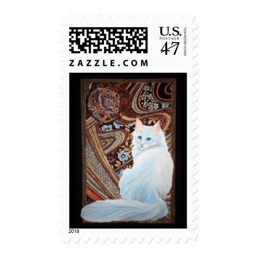 White Turkish Angora Postage Stamp