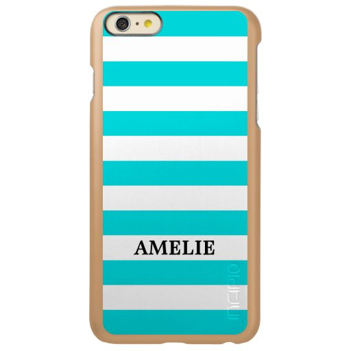 White Turquois Stripes Pattern {pick your color} Incipio Feather Shine iPhone 6 Plus Case