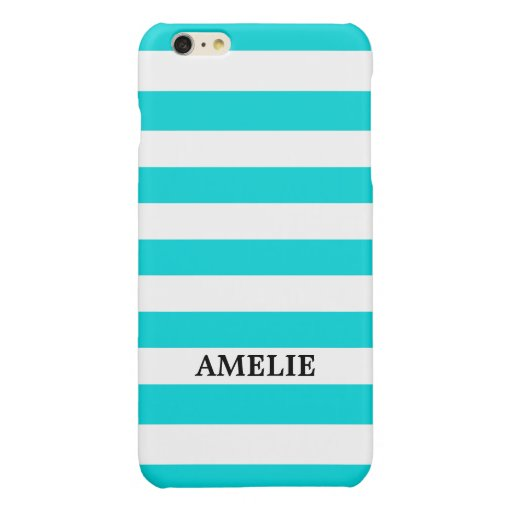 White Turquois Stripes Pattern {pick your color} Glossy iPhone 6 Plus Case