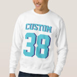 White & Turquoise Adults   Sports Football Jersey Pullover Sweatshirt