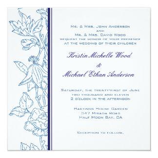 White/Turquoise Floral Wedding Invitation