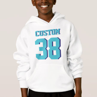 White & Turquoise Kids | Sports Football Jersey Hoodie