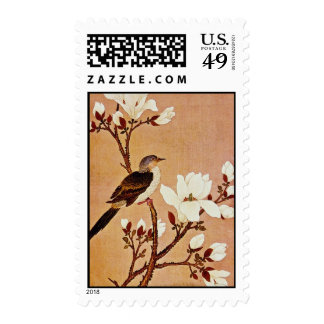white Turtledove on Flowering Branch, Chiang T'ing Postage