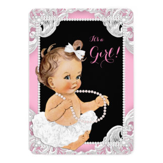 White Tutu Pink Black Pearl Baby Girl Shower Card