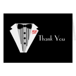 White Tuxedo 100 Thank You Card