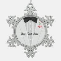 White Tuxedo Monogram with Red Rose Snowflake Pewter Christmas Ornament