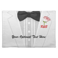 White Tuxedo Monogram with Rose Cloth Placemat