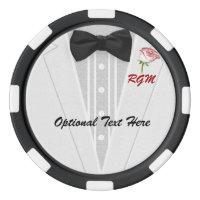 White Tuxedo Monogram with Rose Poker Chips