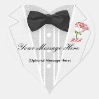 White Tuxedo with black Bow Tie Monogram Heart Sticker