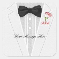 White Tuxedo with black Bow Tie Monogram Square Sticker
