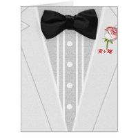White Tuxedo with Bow Tie Monogram Card