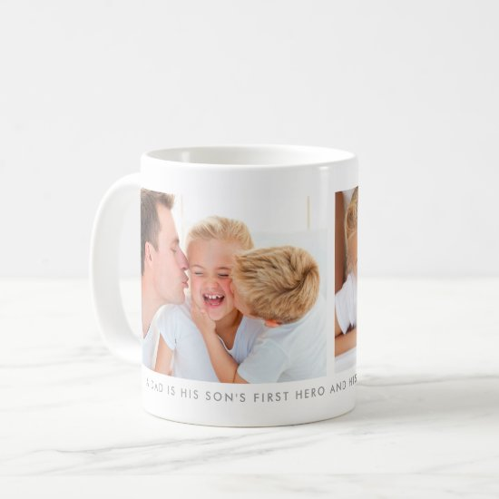 White Two Photo Collage With Custom Message Coffee Mug