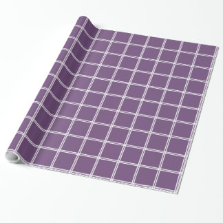 White Two Stripe Plaid on Perfect Plum Wrapping Paper