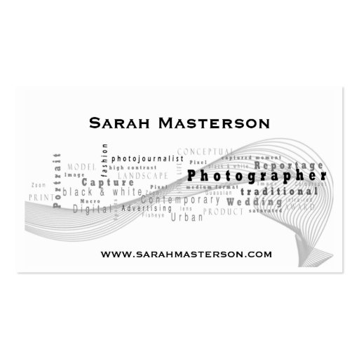 White Typographic Photographer business card