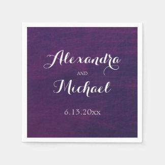 White Typography on Deep Purple Wedding Napkin